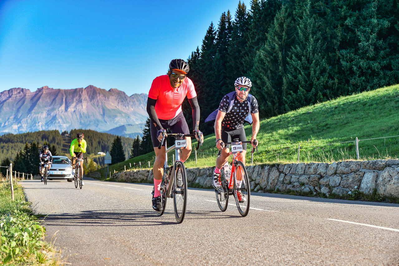 Day 1 - Haute Route Alps - Megève - Megève  Frank Persyn from Team Persyn Sports Marketing & Anthony Walker from Kudos Cycling