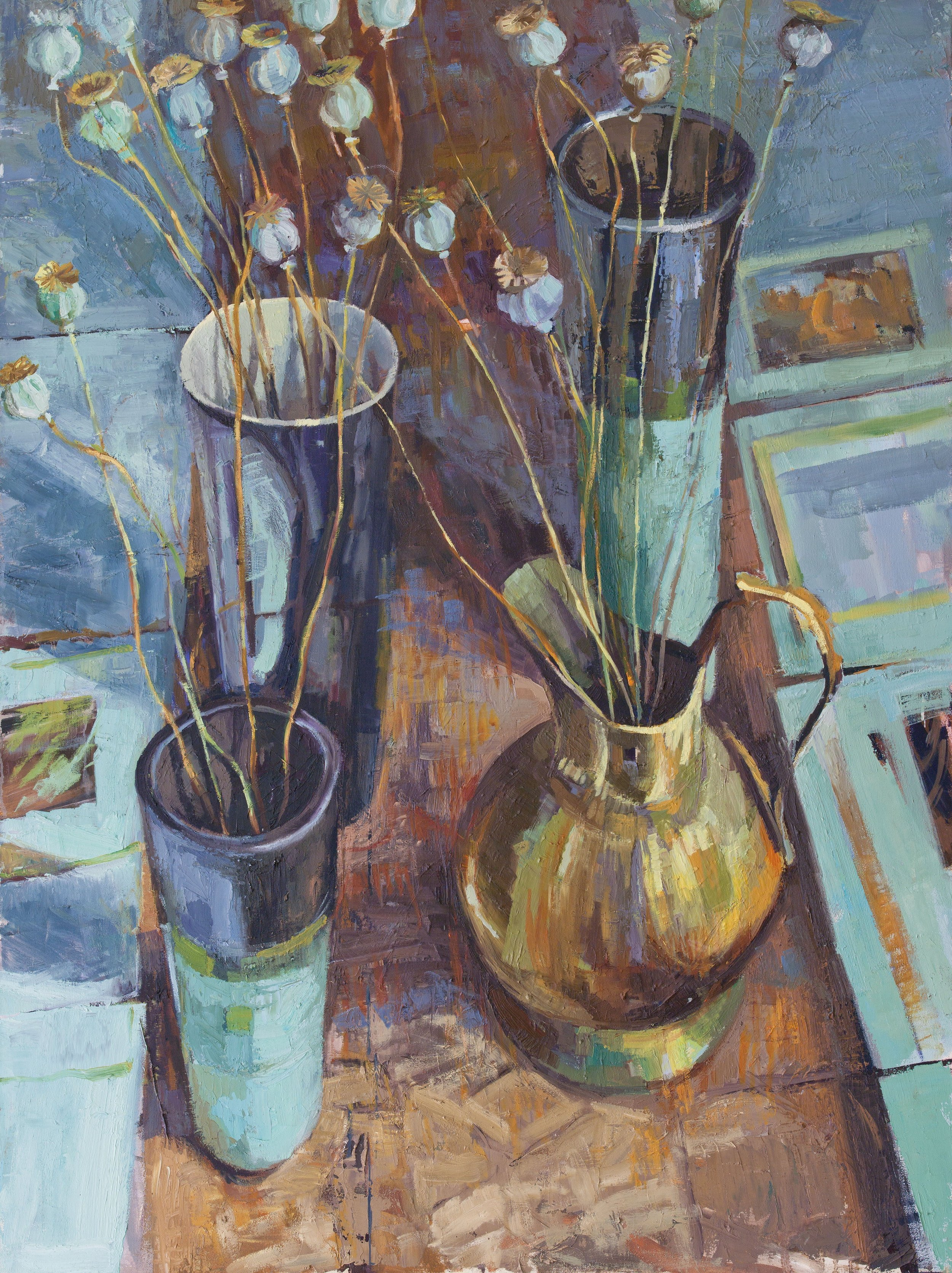 """""""Poppy seedheads and blue pots"""""""