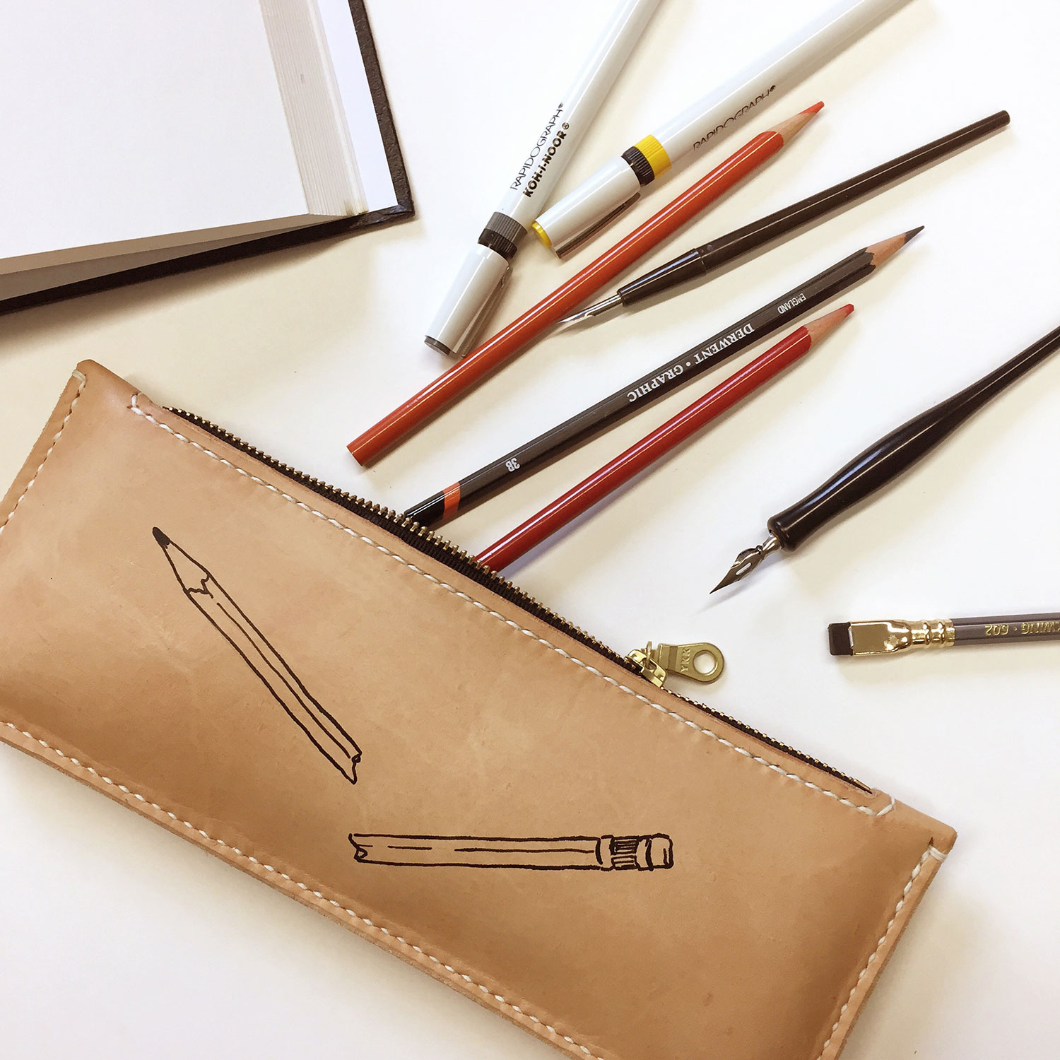 Hand drawn pencil pouch