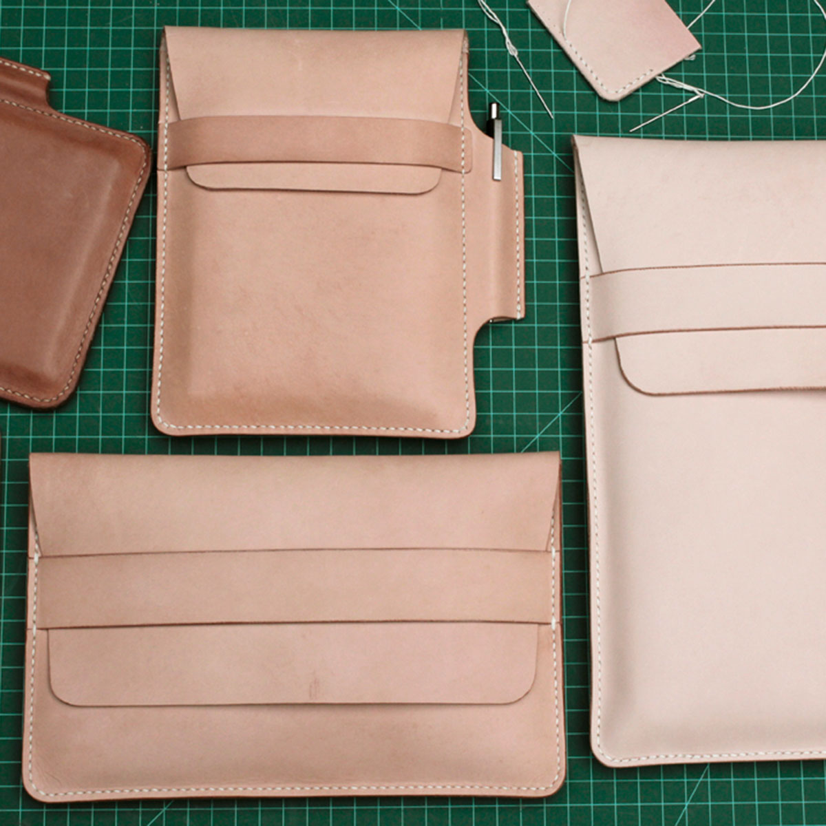 Vegetable tanned leather cases