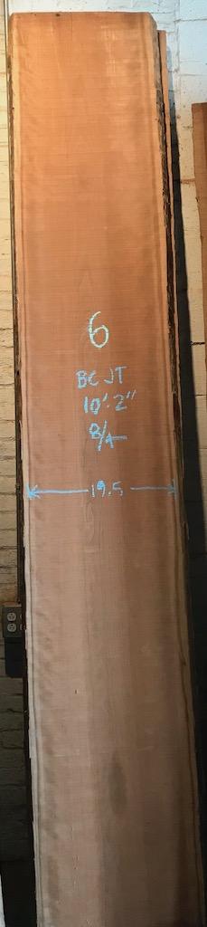"""BCJT-6    10'-2"""" L x 19.5"""" W x 2"""" T    33 bf @ $25/bf    $826"""