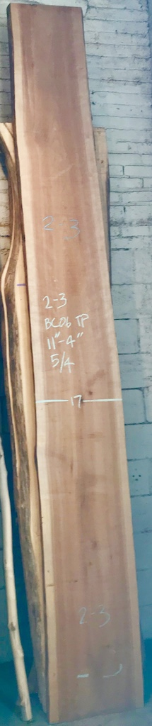 "BC0608TP2-3    11'-4"" L x 17"" W x 1-3/4"" T    28 bf @ $20/bf    $562"