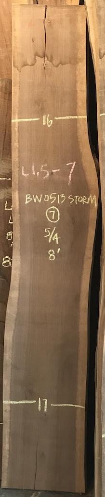"""BW0513STORM-L1.5-7    8'-0"""" L x 16"""" W x 1.25"""" T    13.3 bf @ $20/bf    $267"""