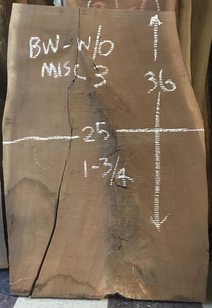"""BWW/O-MISC3    3'-0"""" L x 25"""" W x 1-3/4"""" T    10.9 bf @ $20/bf    $219"""