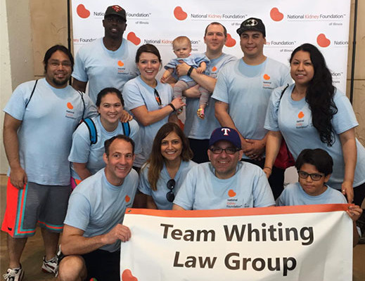 Team Whiting Law Group supporting the NKF Yearly Walk
