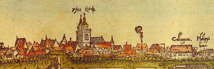 Wittenberg city view from the south (c.1556), colored woodcut from workshop of Lucas Cranach, now at the Luther House, Wittenberg