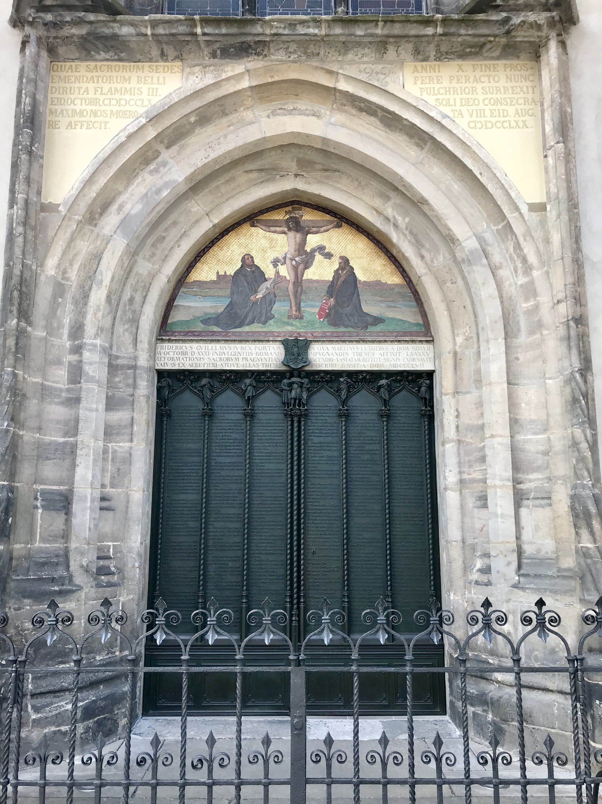 Doors of the Schlosskirche with inscriptions of the 95 Theses, rebuilt following a fire.