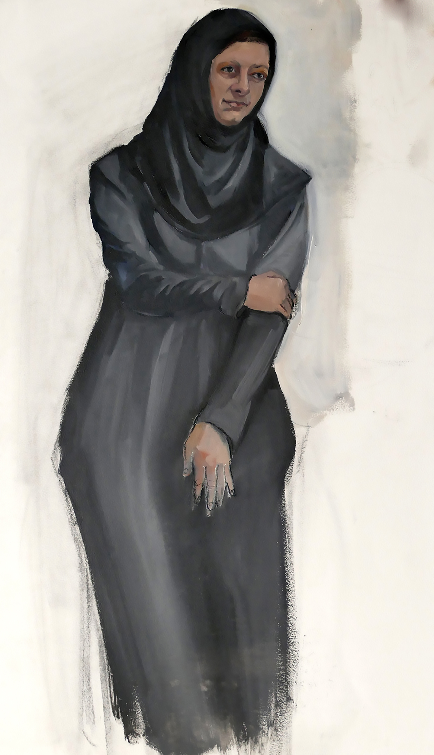 Chador , acrylic and oil on paper, 22 x 30 in.