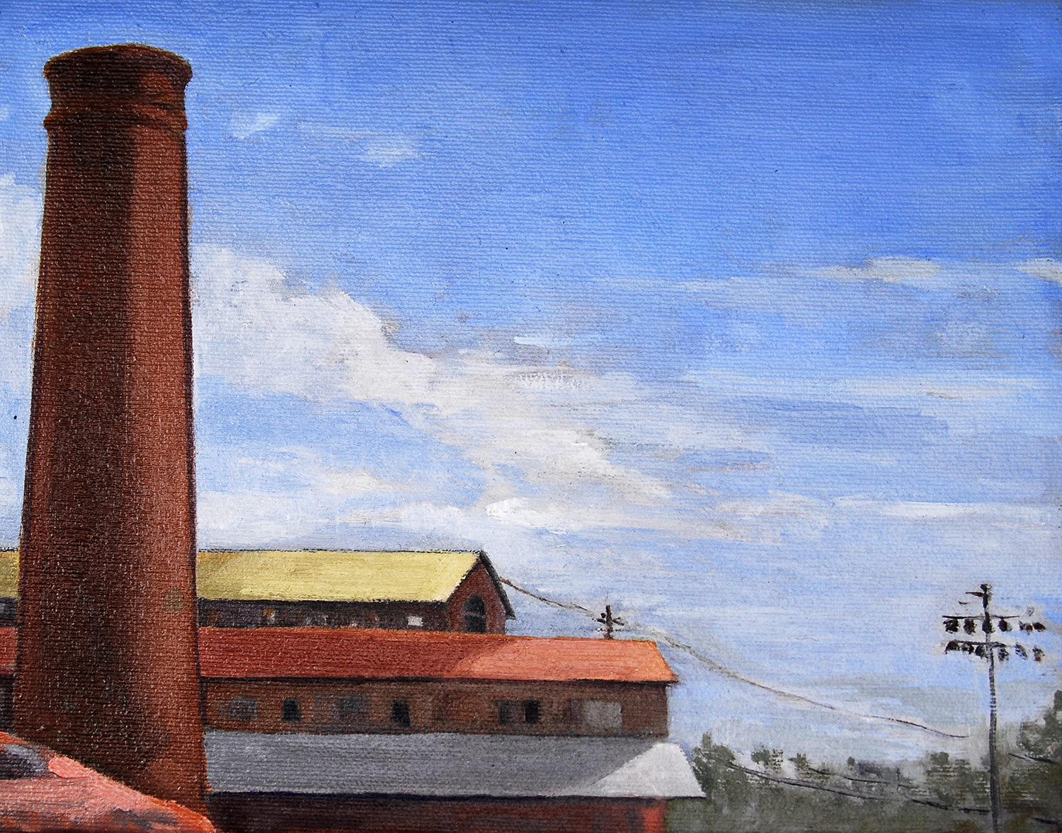 Brewery Smokestack , oil on canvas, 8 x 10 in