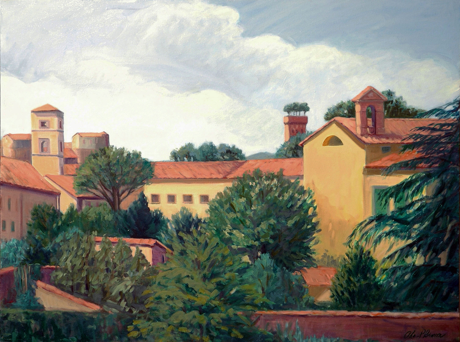 Lucca from the Wall , oil on canvas, 30 x 40 in