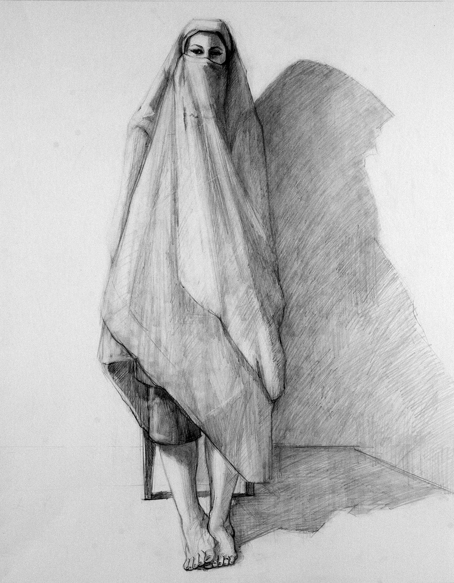 Veiled , 2015. Graphite on paper, 24 x 19 in.