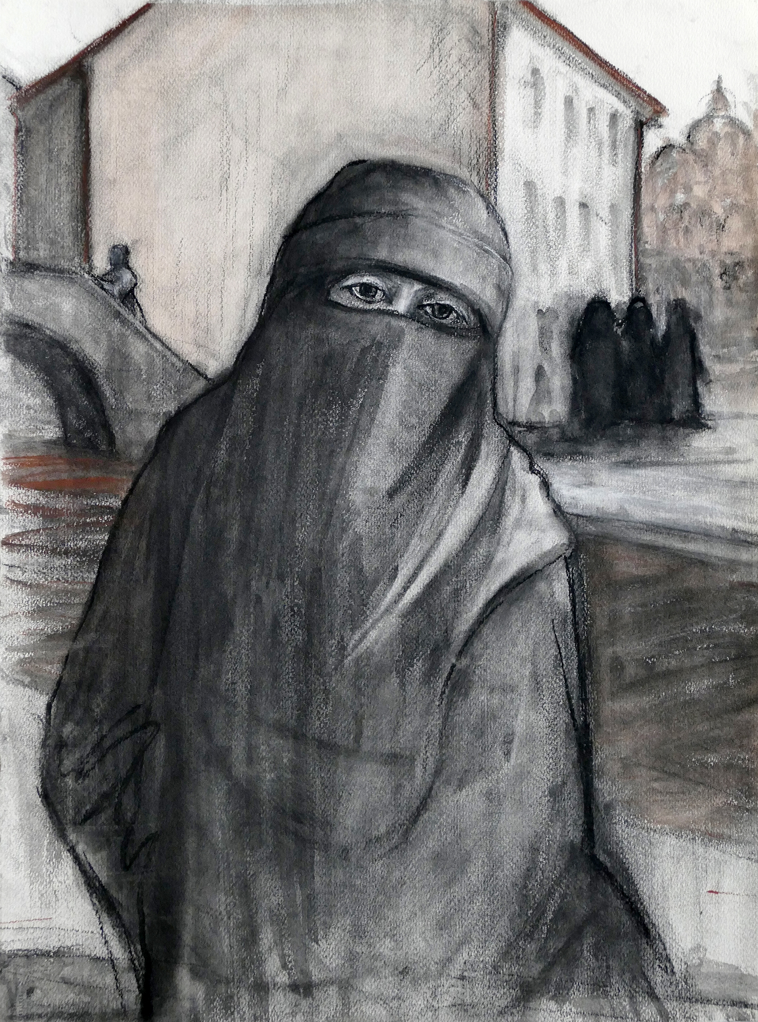 Veiled in Venice , charcoal on paper, 24 x 19 in.