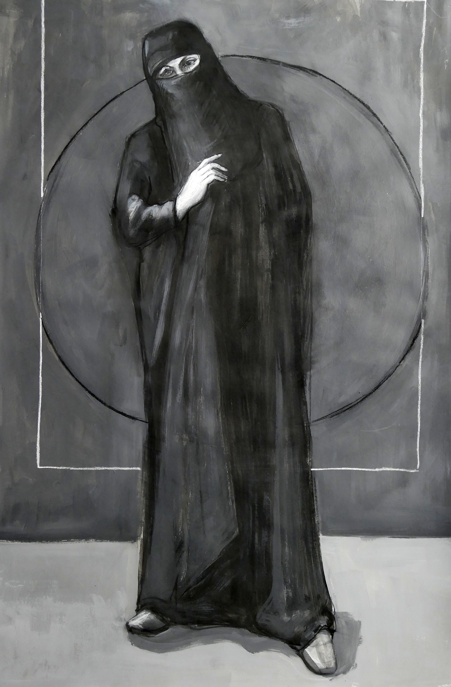 Niqab I,  charcoal and acrylic on paper, 22 x 30 in.