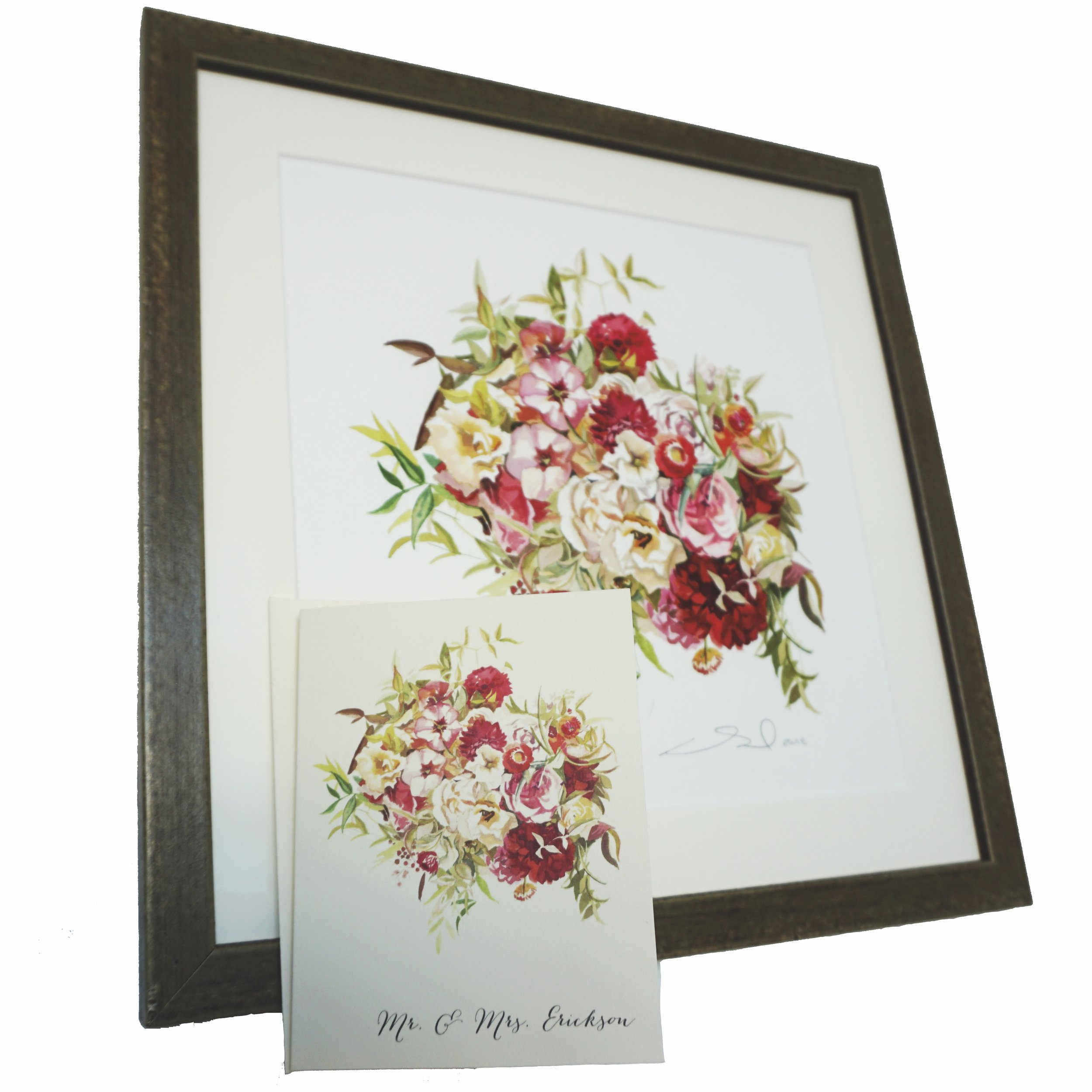 Custom Bridal Bouquet painting + stationery