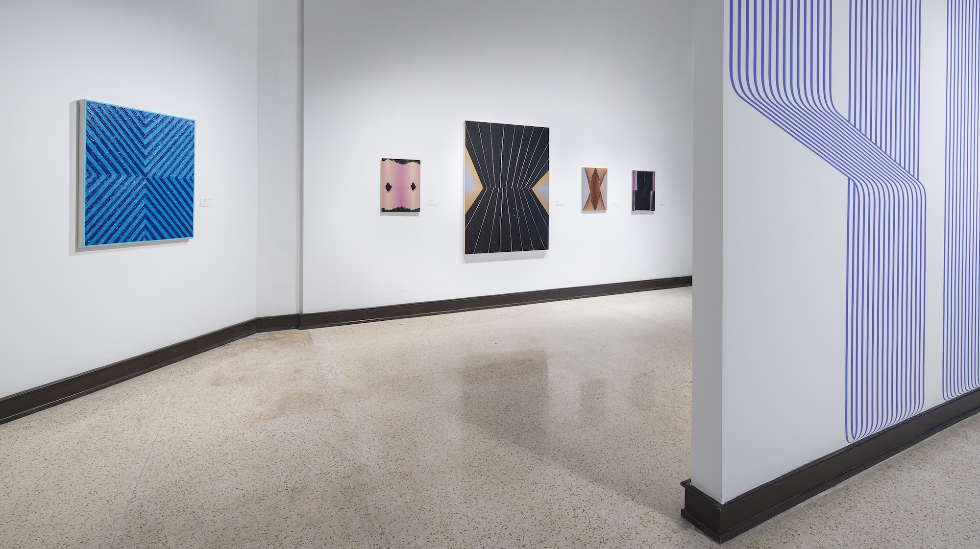 Russell Tyler (left), Rafael Vega (center), Terry Taggerty (right).  Linear Abstraction , Gutstein Gallery, Savannah College of Art and Design, Savannah, Georgia. Courtesy of the Savannah College of Art and Design. 2015. Photo: Marc Newton