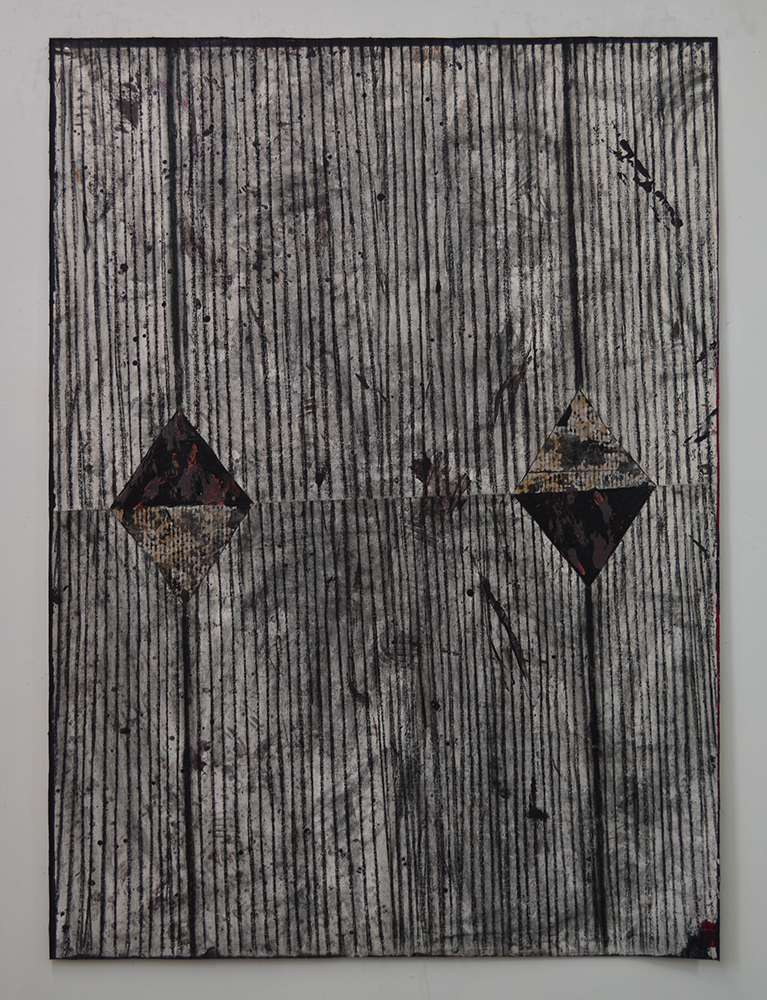 Untitled  Acrylic, charcoal, card board on canvas  64 x 48 in.  2015