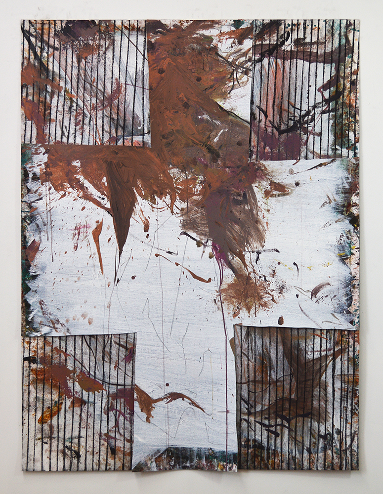 Untitled  Acrylic, charcoal, canvas on canvas  64 x 48 in  2018