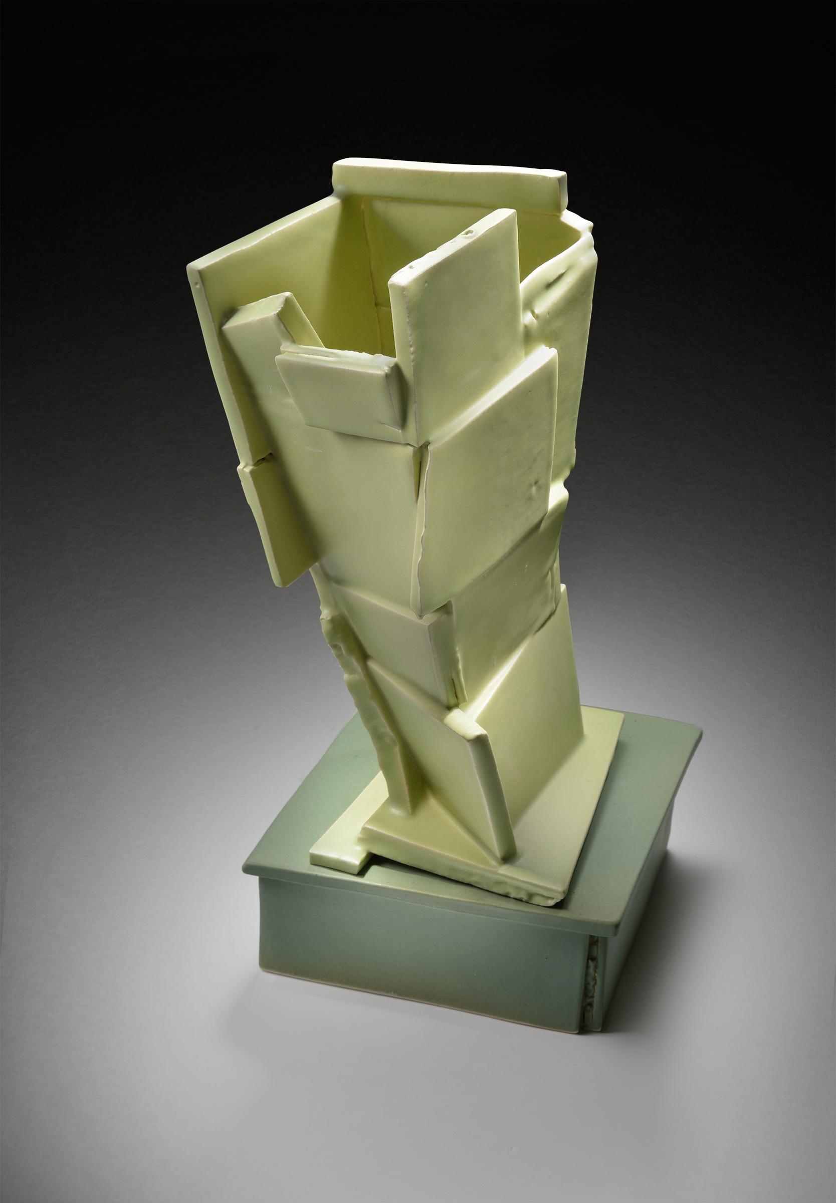 Tilted Green Vase on Base