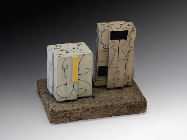 2 Vases on Cement Base