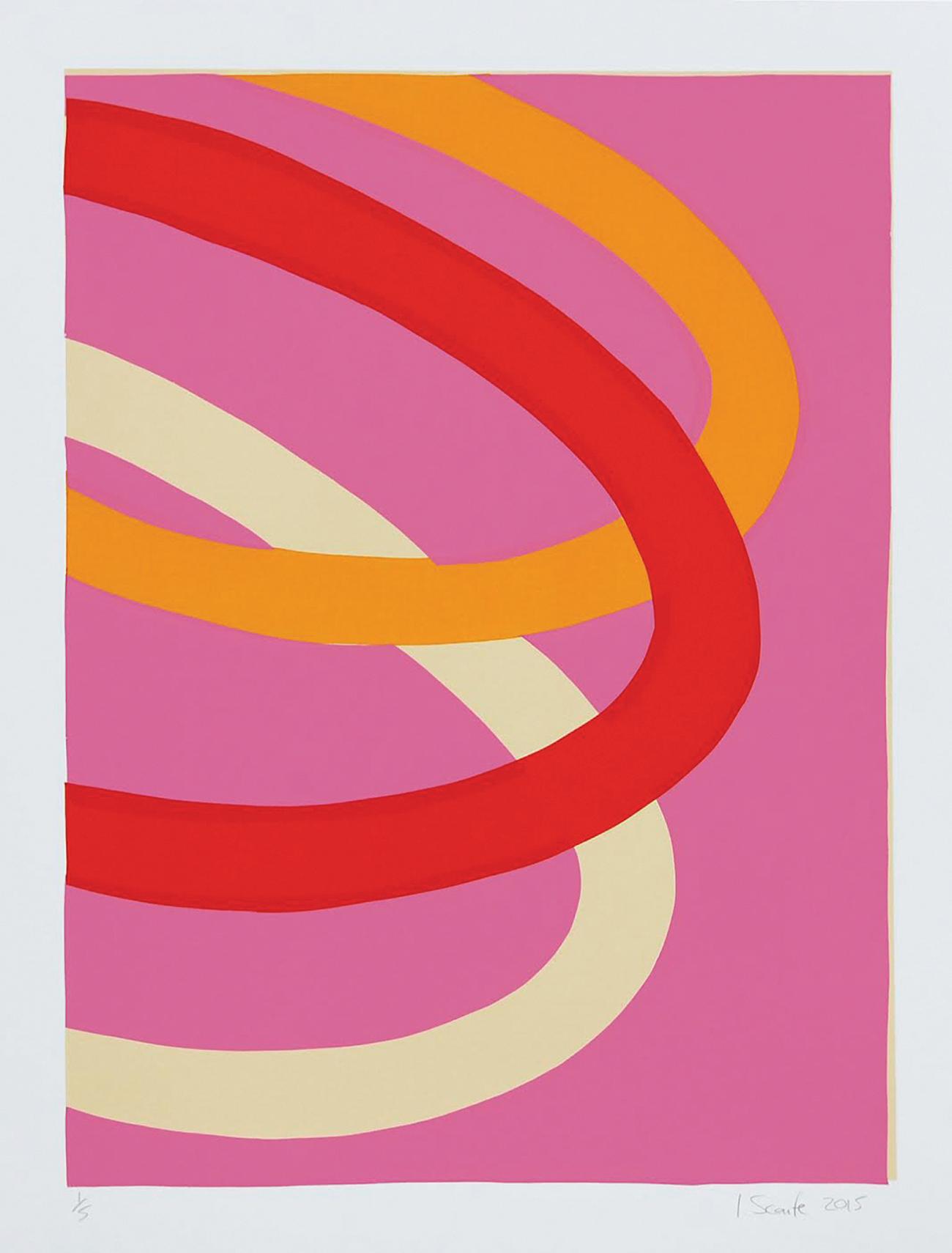 """Pink Loops""   Screenprint,  56 x 41.5cm  2015"