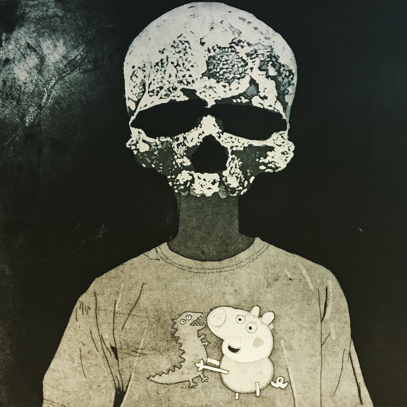 """A Skeleton Always Sells, Dear""   Etching and aquatint on zinc  35 x 29 cm  2016"