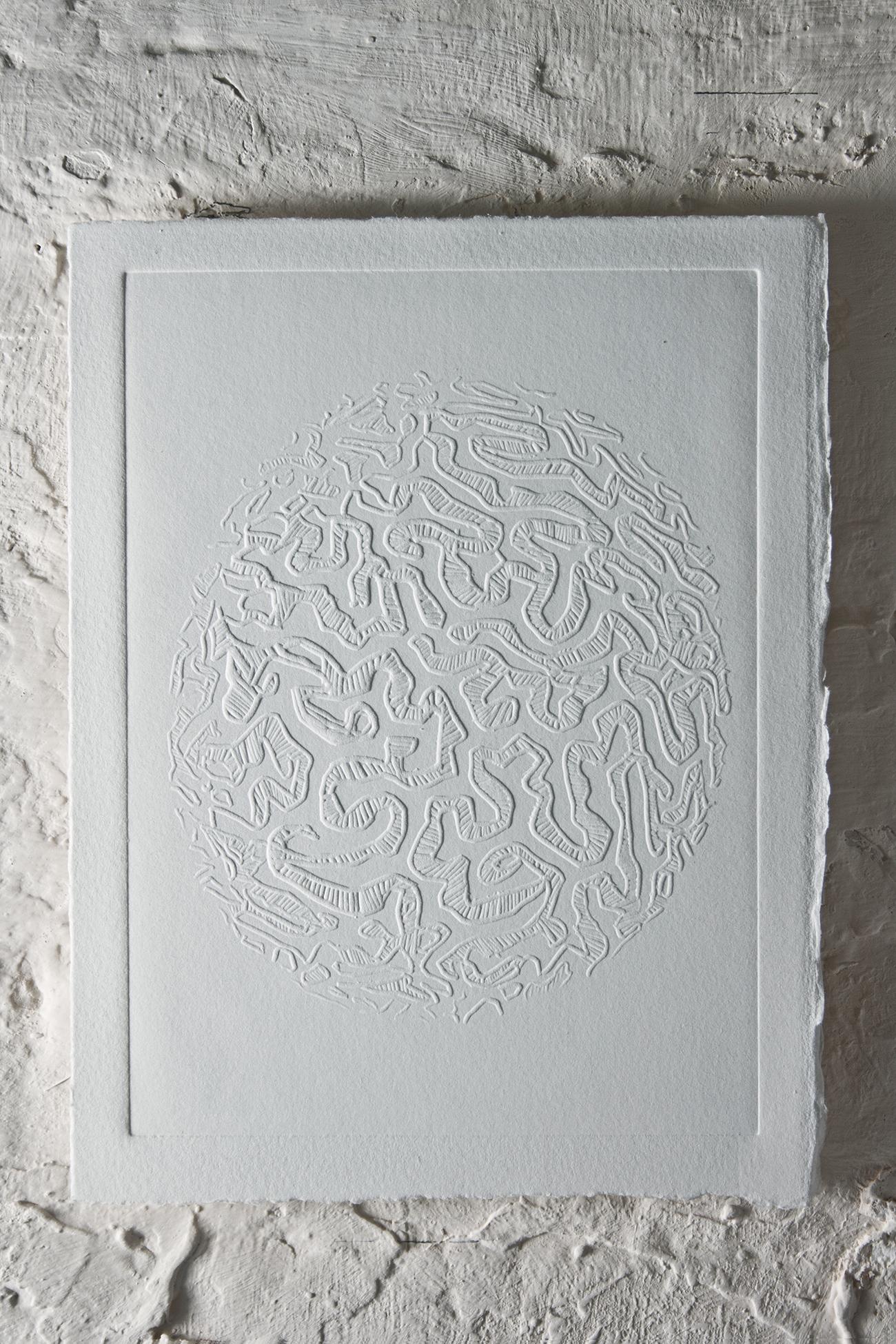 """Brain Coral""   Blind embossing  29.5 x 24 cm  2013"