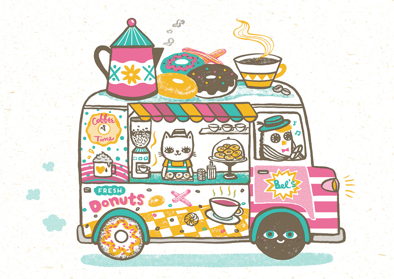 """Coffee and Donuts Van""   Silk-screen print  29.7 x 42 cm  2015"