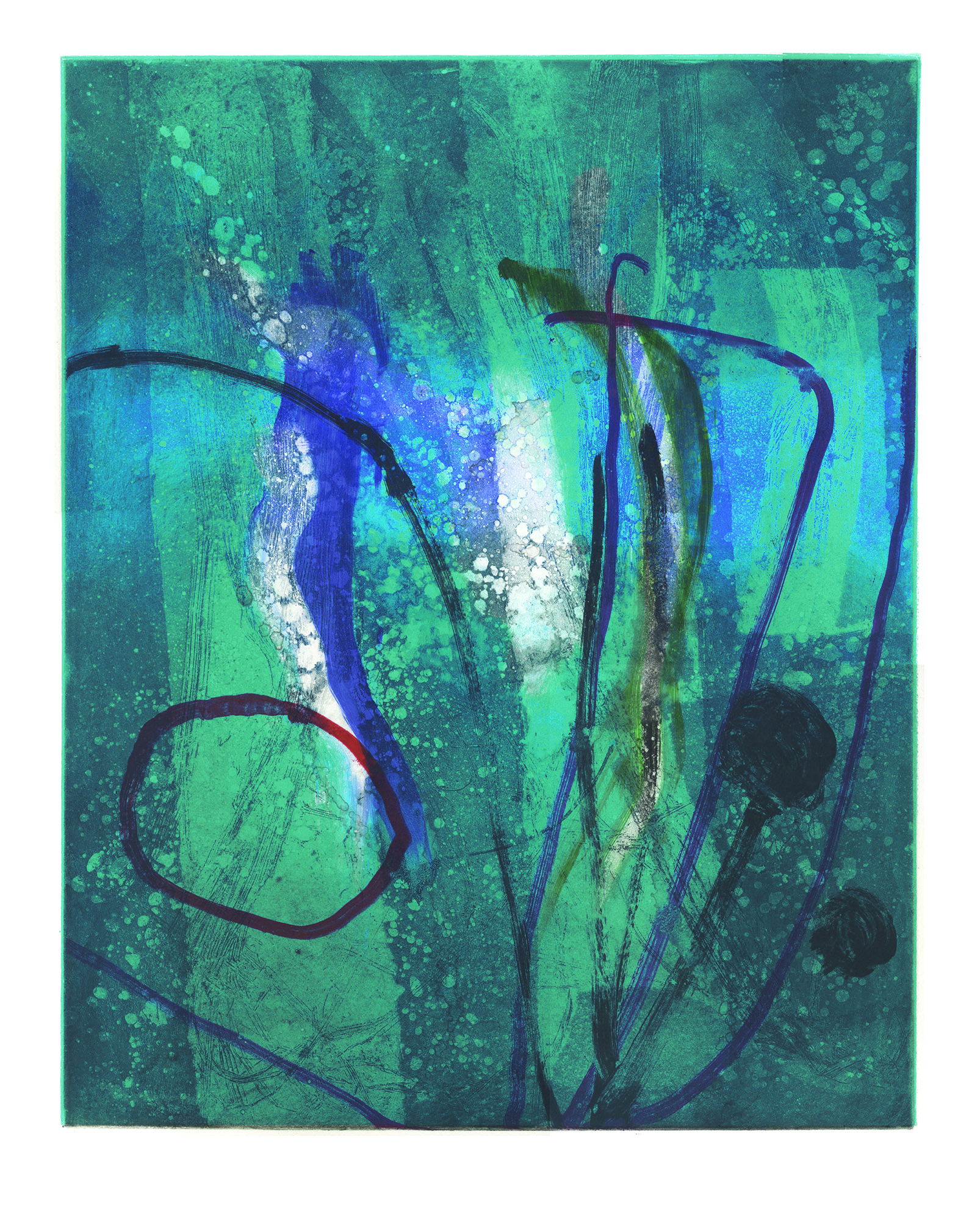 Aqua   Etching and monoprint