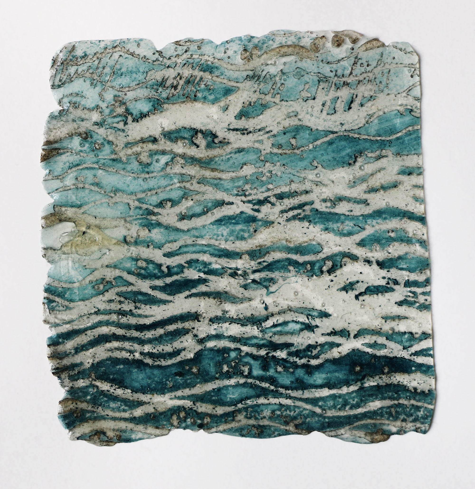 Sea Surface (Fragment 1)   Gel cast/monoprint from etched lino