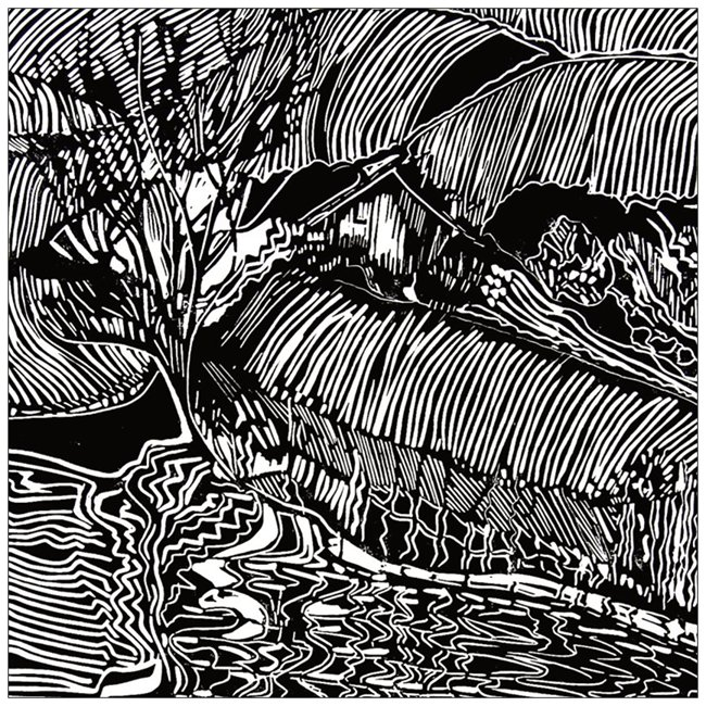 FELIX FARM BY THE TARN,MILLAU,FRANCE   LINO CUT
