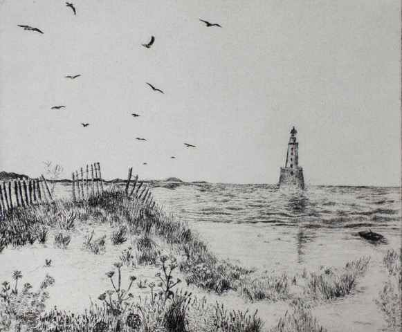 Lighthouse at Rattray   Drypoint on paper