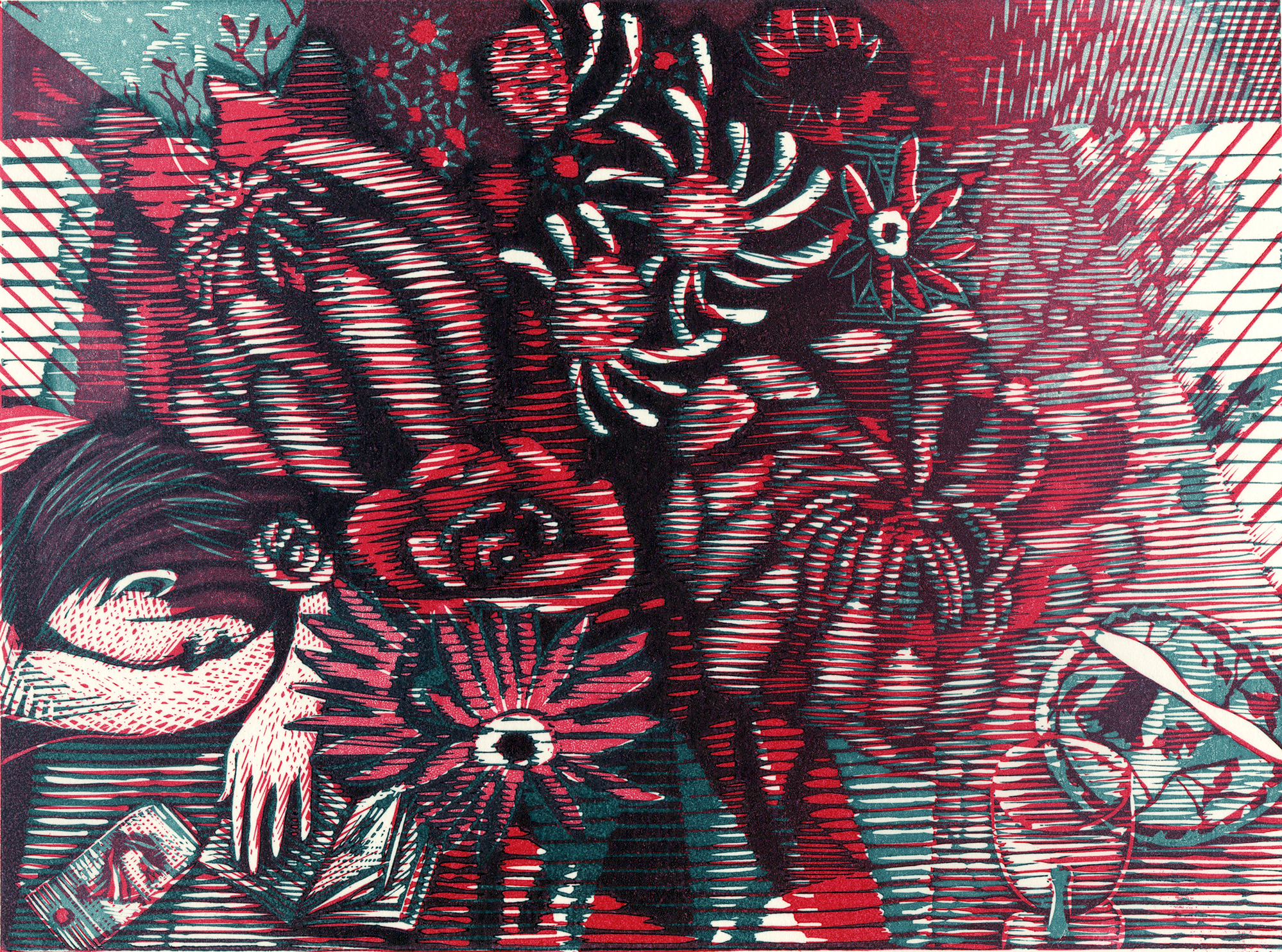 She Dreams of Flowers   Linocut
