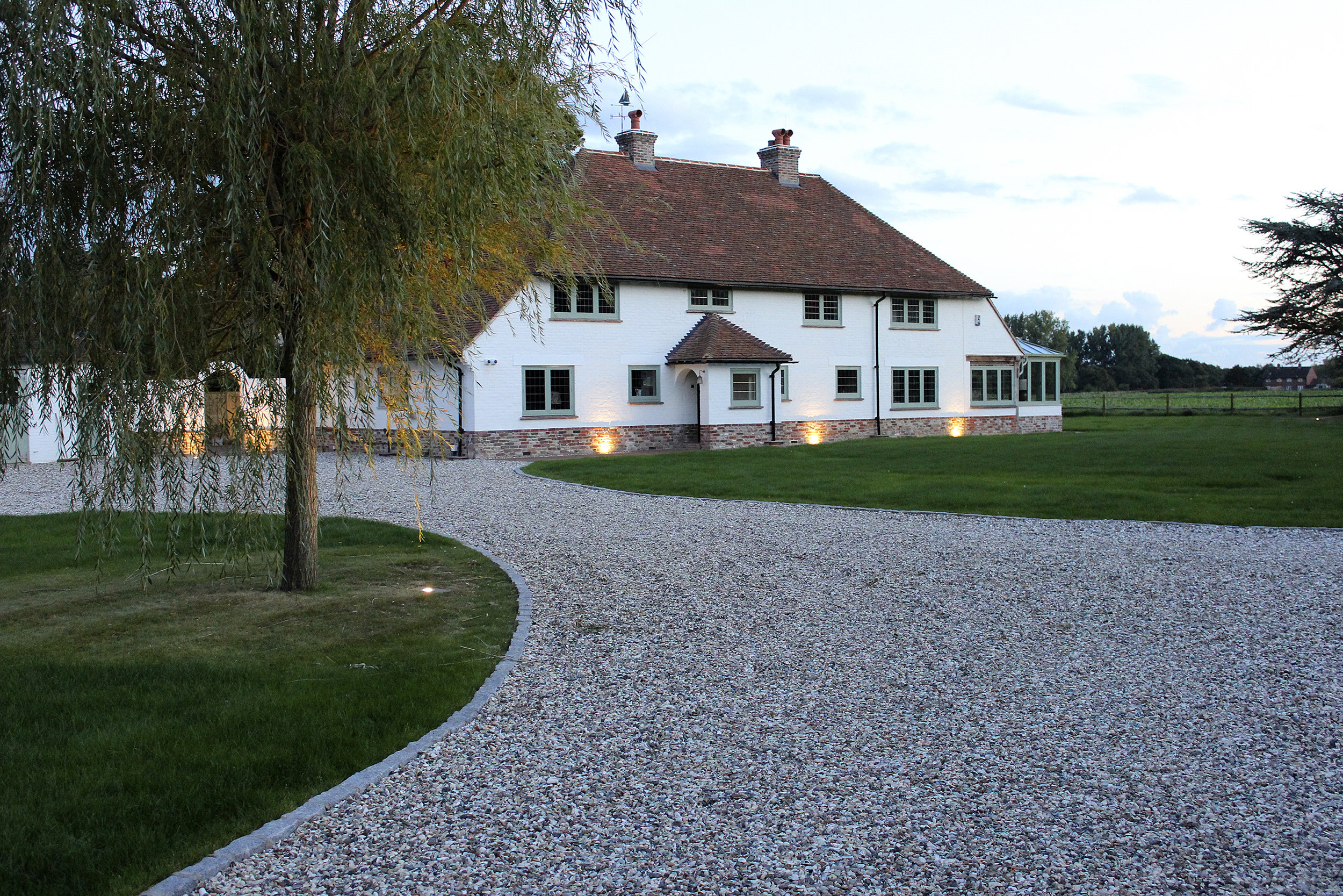 New lawn and reworked driveway adds to the aesthetics of the property.