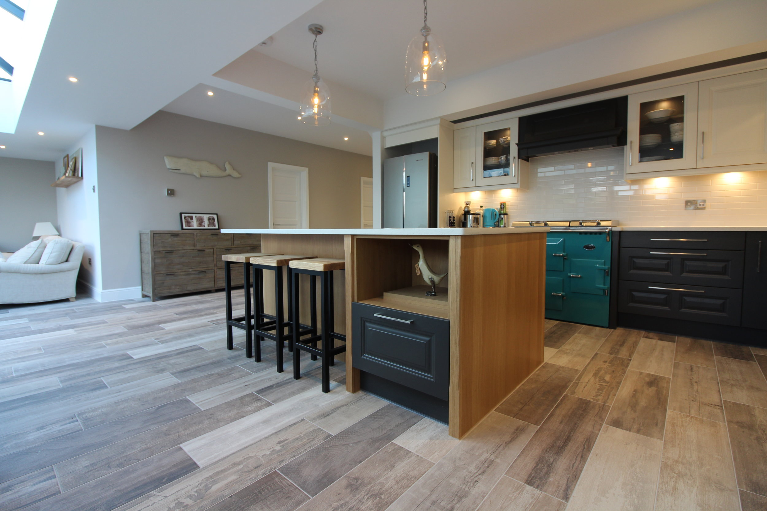 The open plan kitchen and living space featured a large island to act as a relaxed place to eat or socialise.