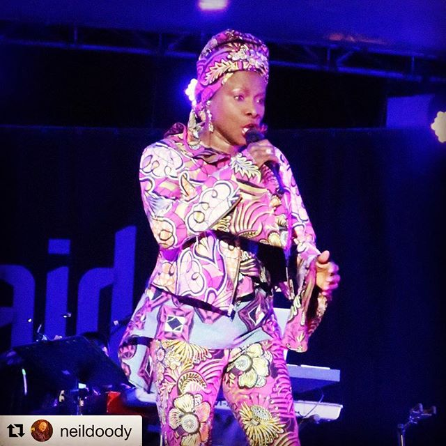 "#Repost @neildoody As expected @angeliquekidjo was a real highlight at @womadelaide - performed most of the new ""Remain In Light"" tribute album, sang in the crowd, invited @fatoumata_diawara__ onstage and then a whole bunch of other performers."