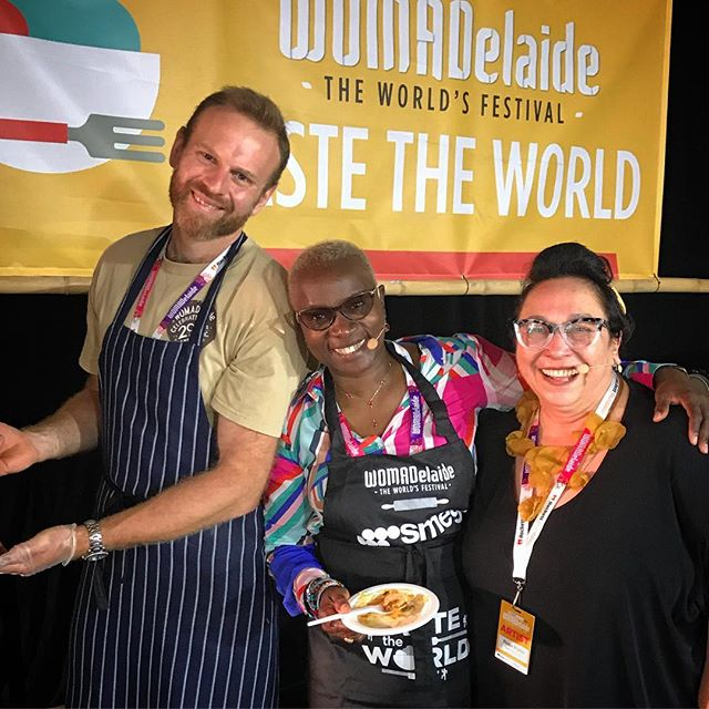 Cooking my special Beninese spinach dish at #tastetheworld today at @womadelaide !