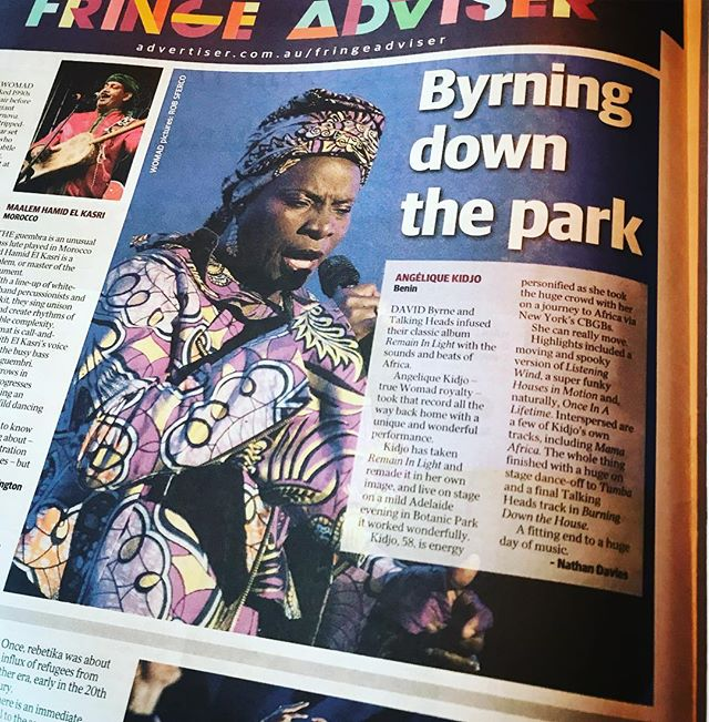 « Byrning Down The Park » Today in @thetiser newspaper after the beautiful @womadelaide show #RemainInLight @davidbyrneofficial