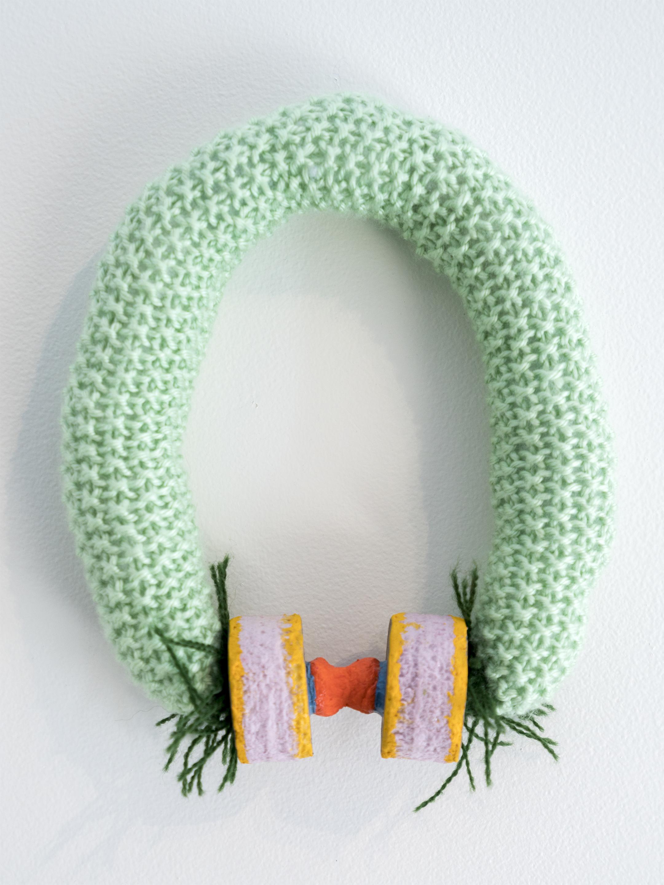 """Para    2016    Knit yarn, acrylic stuffing, styrofoam, acrylic paint, paper mache.    Approx. 7"""" x 9"""""""