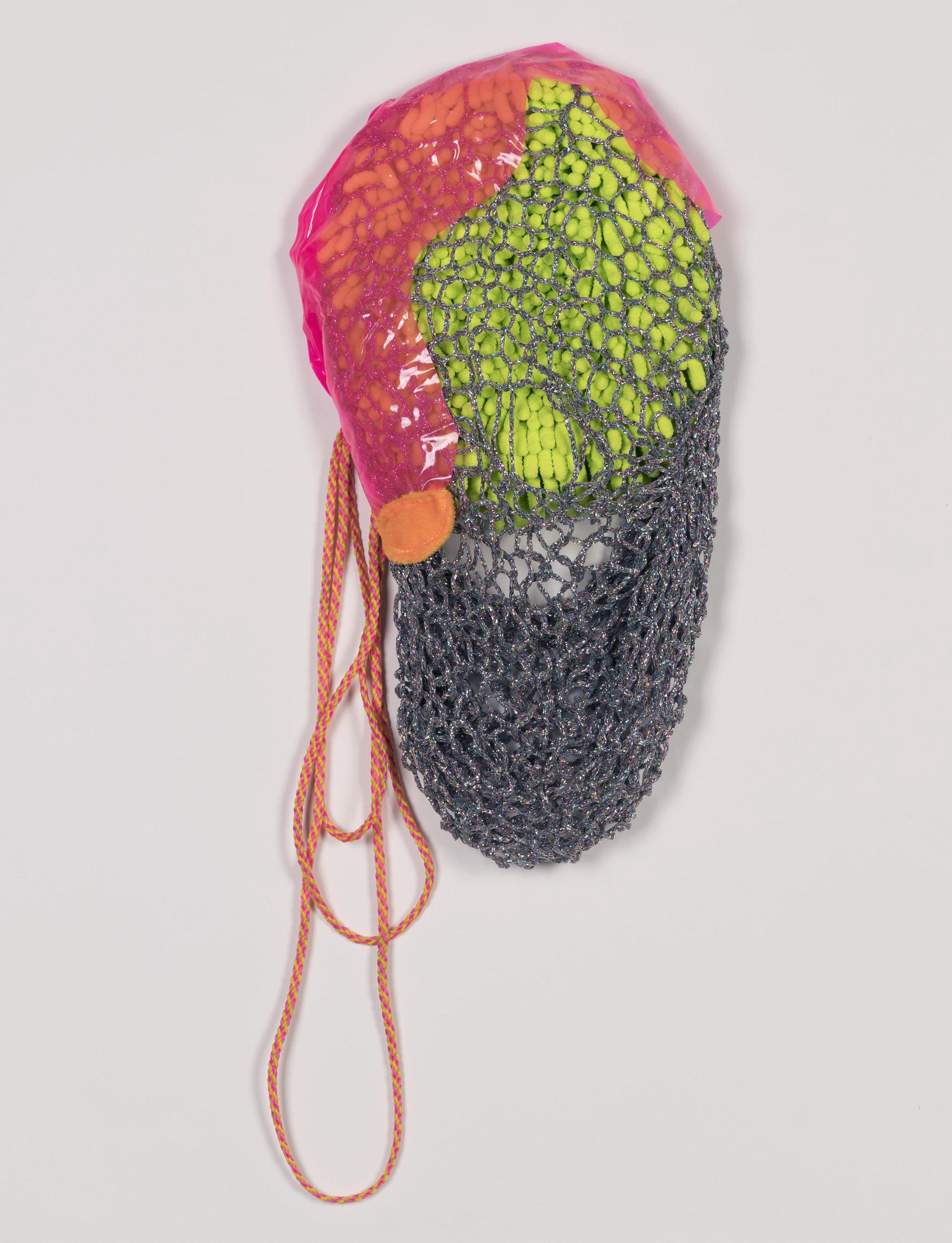 """Spring Netting   2016  Metallic yarn, cording, faux fur, vinyl, chenille microfiber wash mitt.  20"""" x 10"""""""