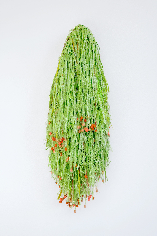 "Landlady's Wig    2016    Hula skirt, acrylic paint, modeling clay.    24""x 9"""