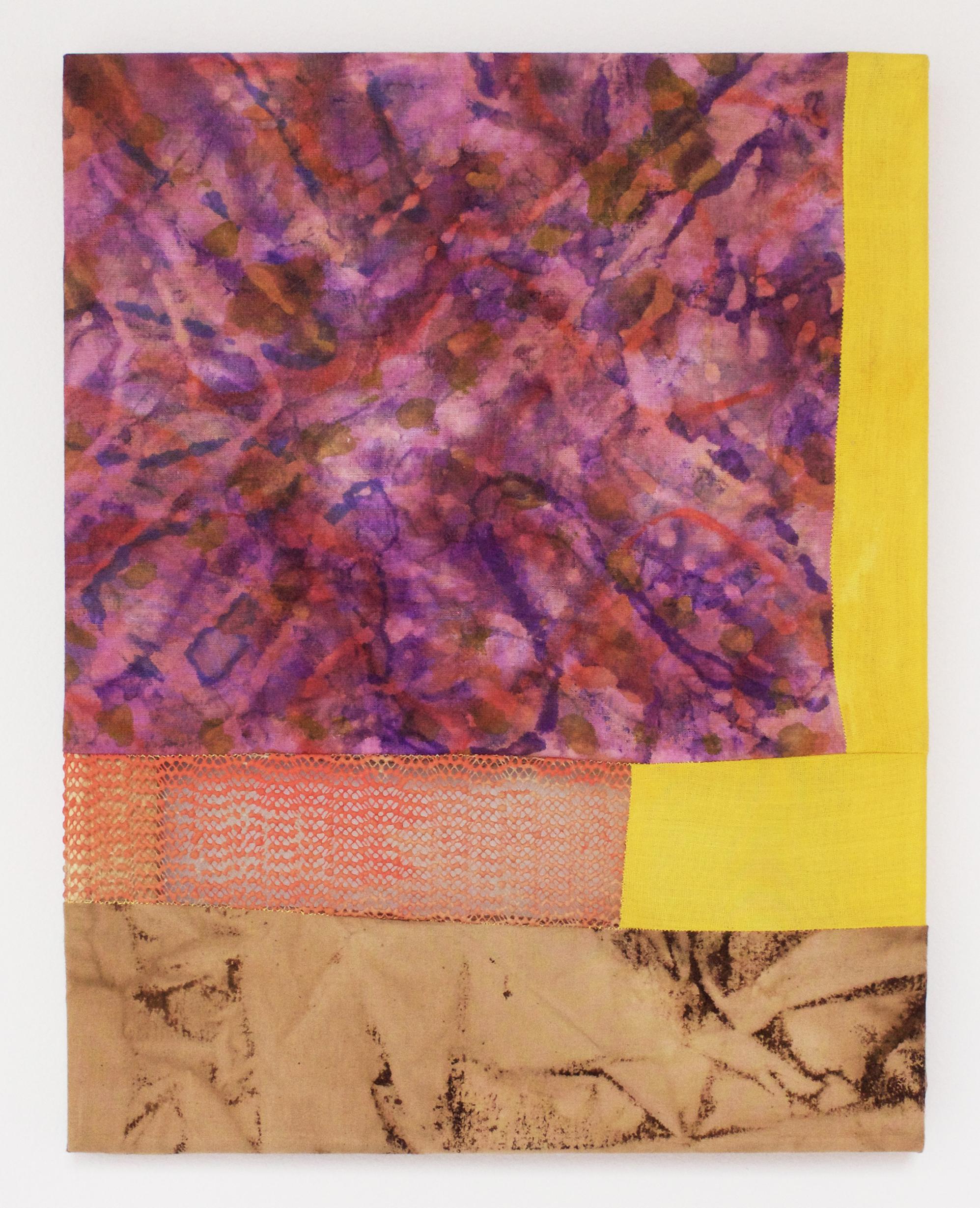 "Quagmire   2017  Cotton fabric, coffee, fabric dye, acrylic paint, rug mat  11"" x 14"""