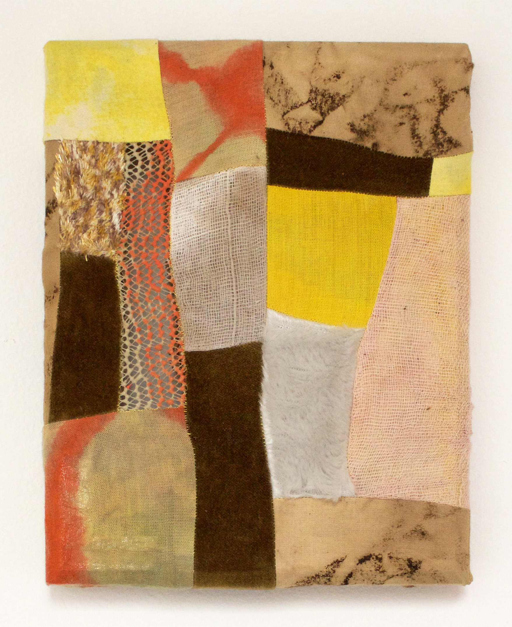 """In The Thicket   2017  Cotton fabric, turmeric, coffee, fabric dye, cotton gauze, velvet, faux fur, acrylic paint paint, rug mat  6.5"""" x 8"""""""