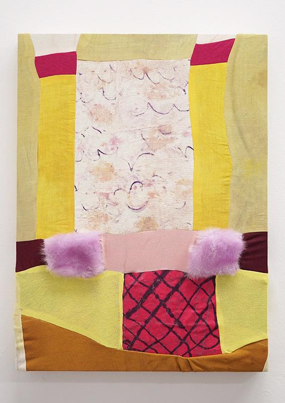 "Egress     2017    Turmeric, green tea, beets, food coloring, fabric paint, canvas, cotton cloth, synthetic felt, plastic, faux fur, cheese cloth.    20"" x 26"""