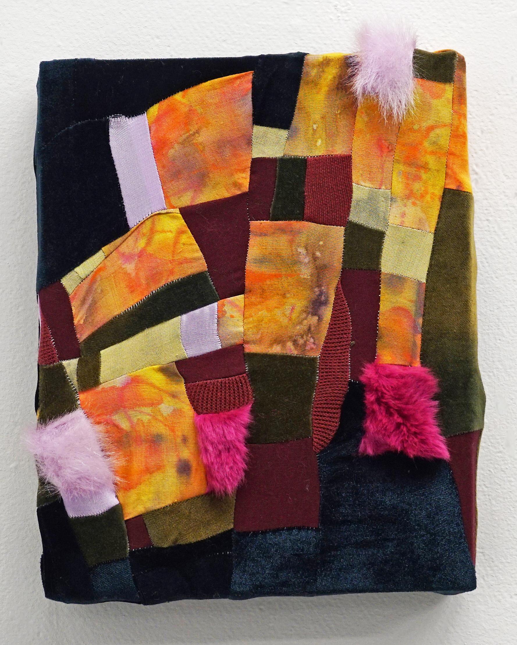 "Clamber   2017  Dye, green tea, food coloring, cotton fabric, velour, velvet, faux fur  8"" x 10"""
