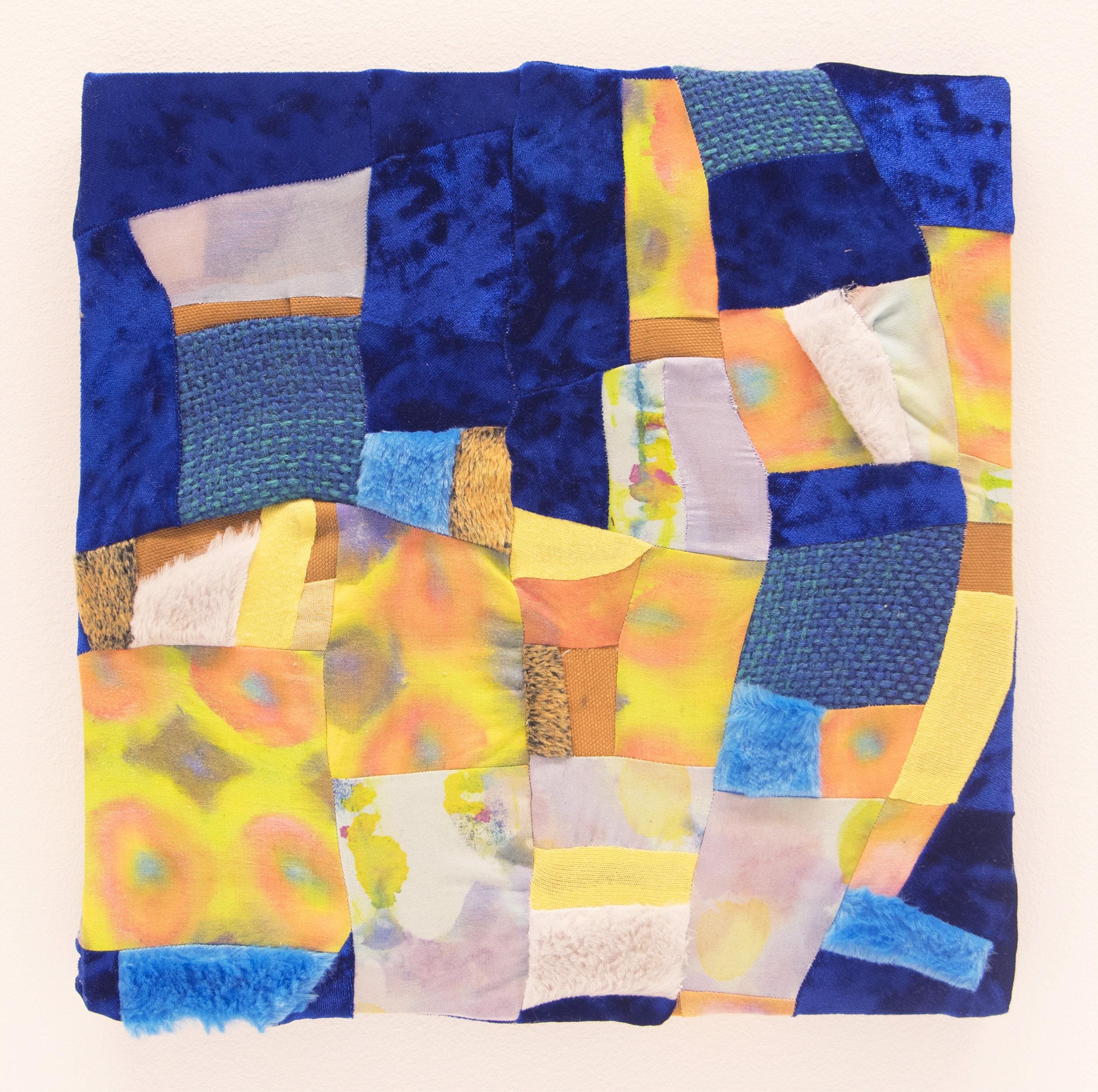 "Rumble   2017  Dye, green tea, fabric paint, cotton fabric, velour, faux fur, hand woven wool, canvas  12"" x 12"""