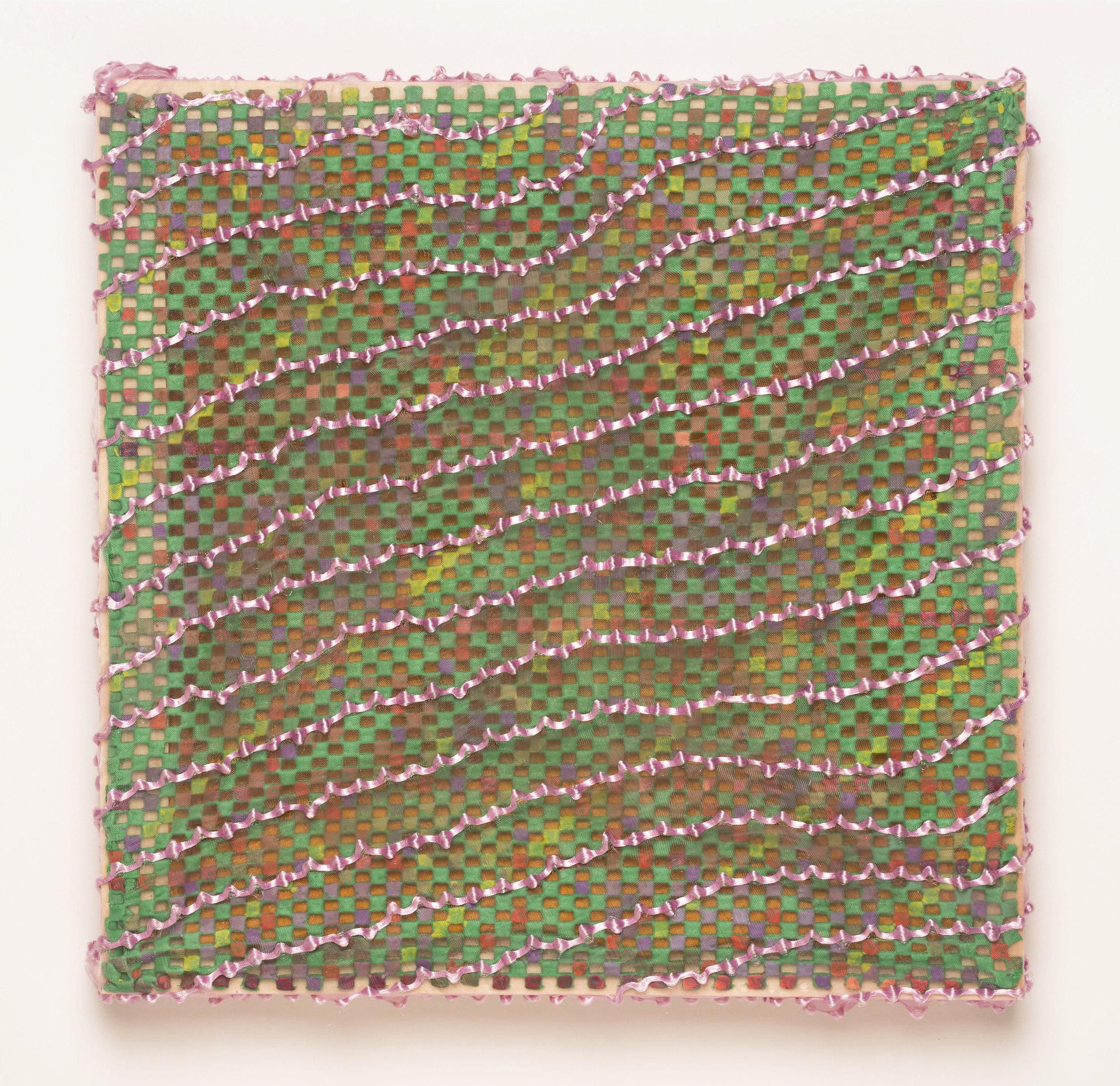 "Second Floor Window Ledge    2017  Acrylic paint, plush rug pad, fabric.   10"" x 10"""