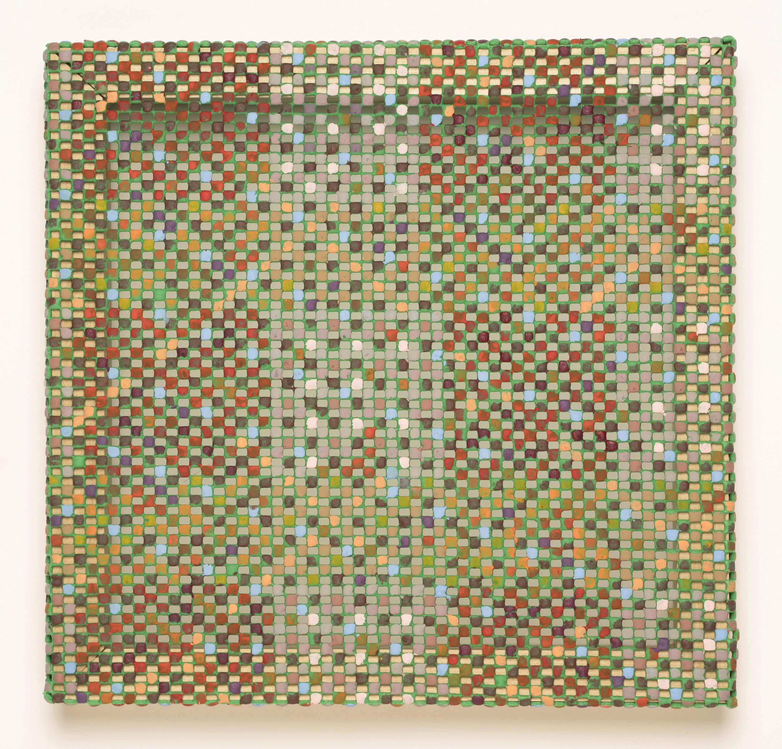 """Plied/Plaid   2017  Acrylic paint, plush rug pad  12"""" x 12"""""""
