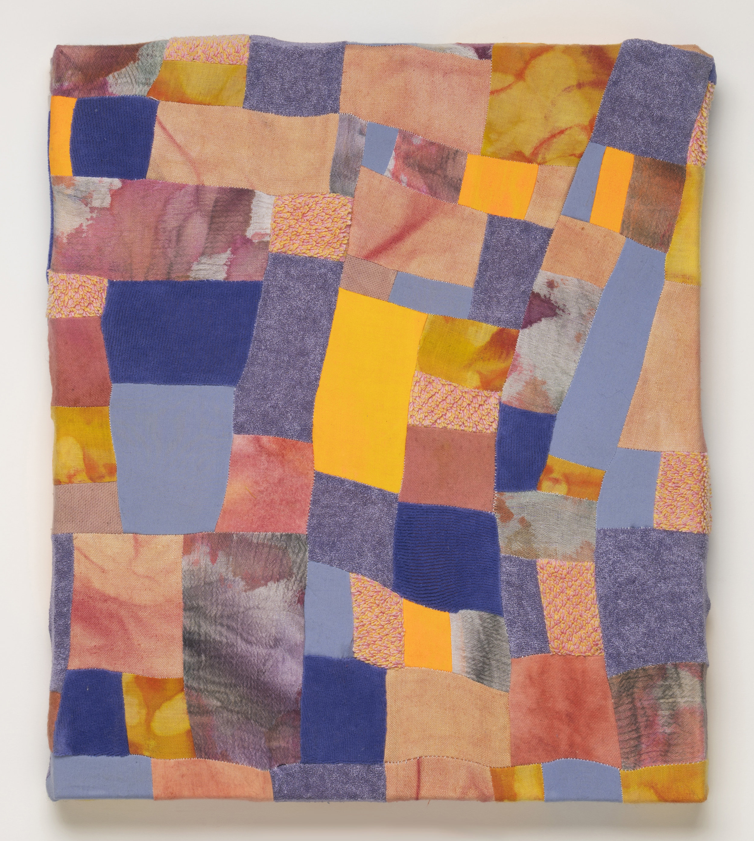 """2017, Rosy-Fingered, Cotton fabric, turmeric, cochineal, madder, dye, acrylic paint, terrycloth, velour, synthetic fabric, 12"""" x 14"""""""