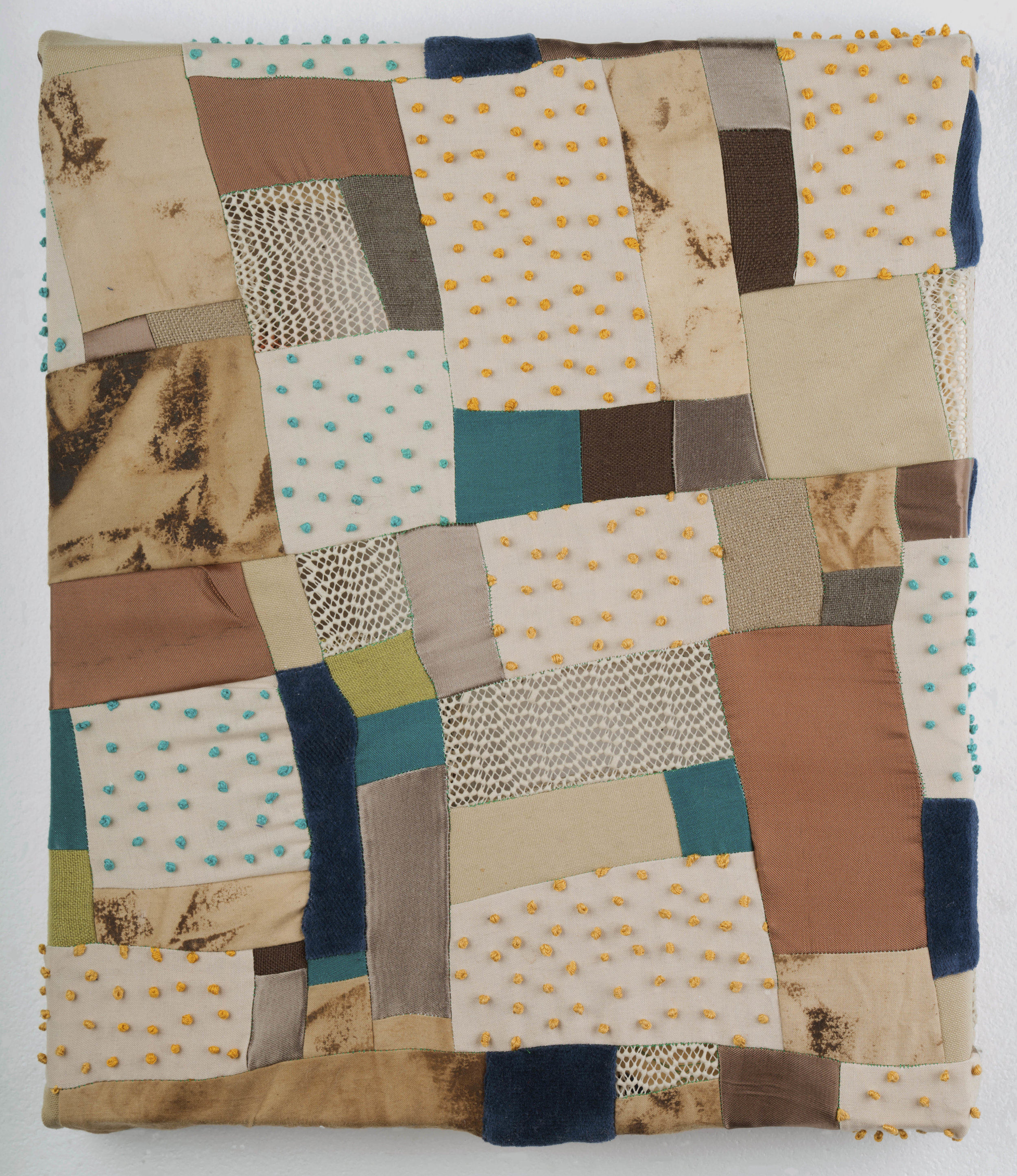 "2018, Twiggy Skies, Cotton fabric, canvas, coffee, embroidery thread, satin, non slip rug mat, velour, 12"" x 14"""