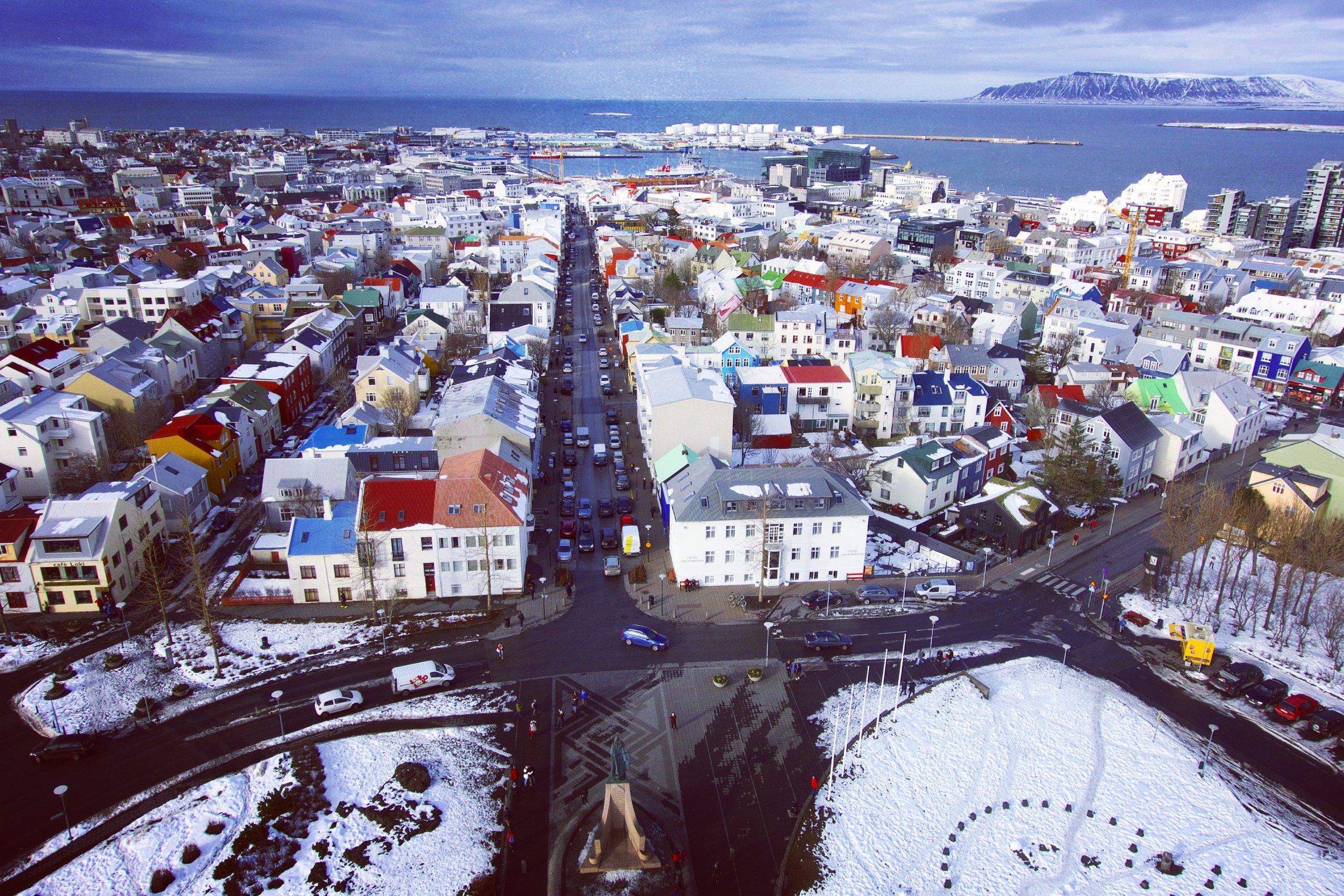 View of Reykjavík from the observation tower in  Hallgrímskirkja